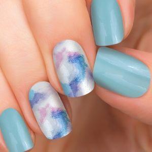 Nail Wraps Turquoise Blue w/ Blue & Purple Tie Dye